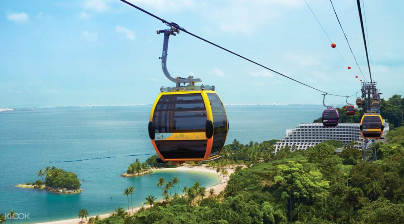 Singapore Cable Car over a beach and forest